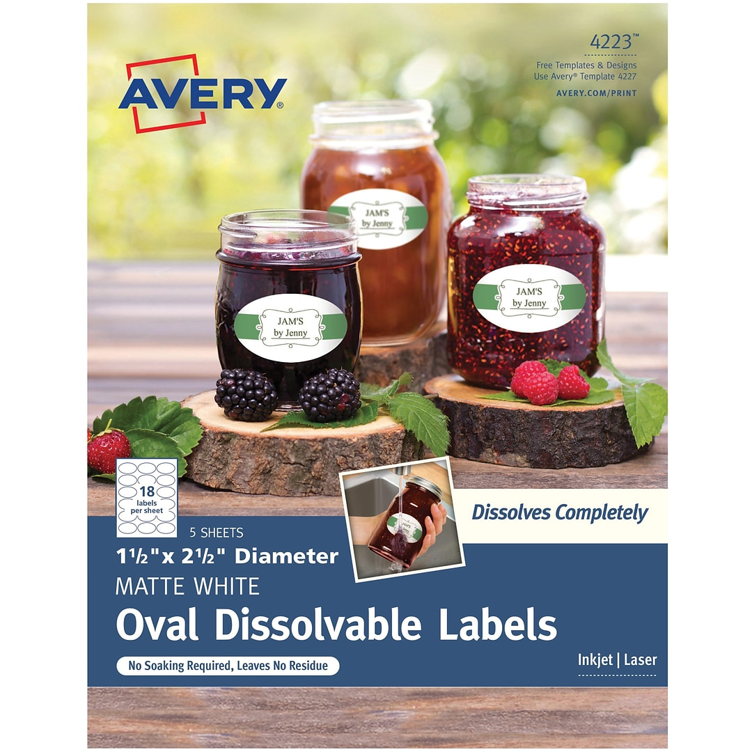 Avery Dissolvable Oval Labels 1 12 X 2 12 Pack Of 90 4223