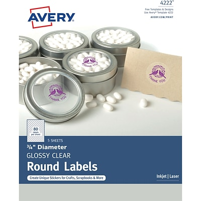 Avery Glossy Clear Print-to-the-Edge Round Labels, 3/4 Diameter, Pack of 400 (4222)