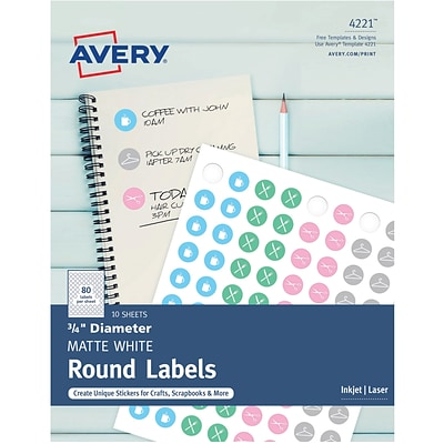 Avery Matte White Print-to-the-Edge Round Labels, 3/4 Diameter, Pack of 800 (4221)