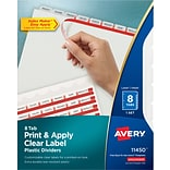Avery® Index Maker® Translucent Clear Label Dividers,  8 Tabs, Clear, 192/Carton
