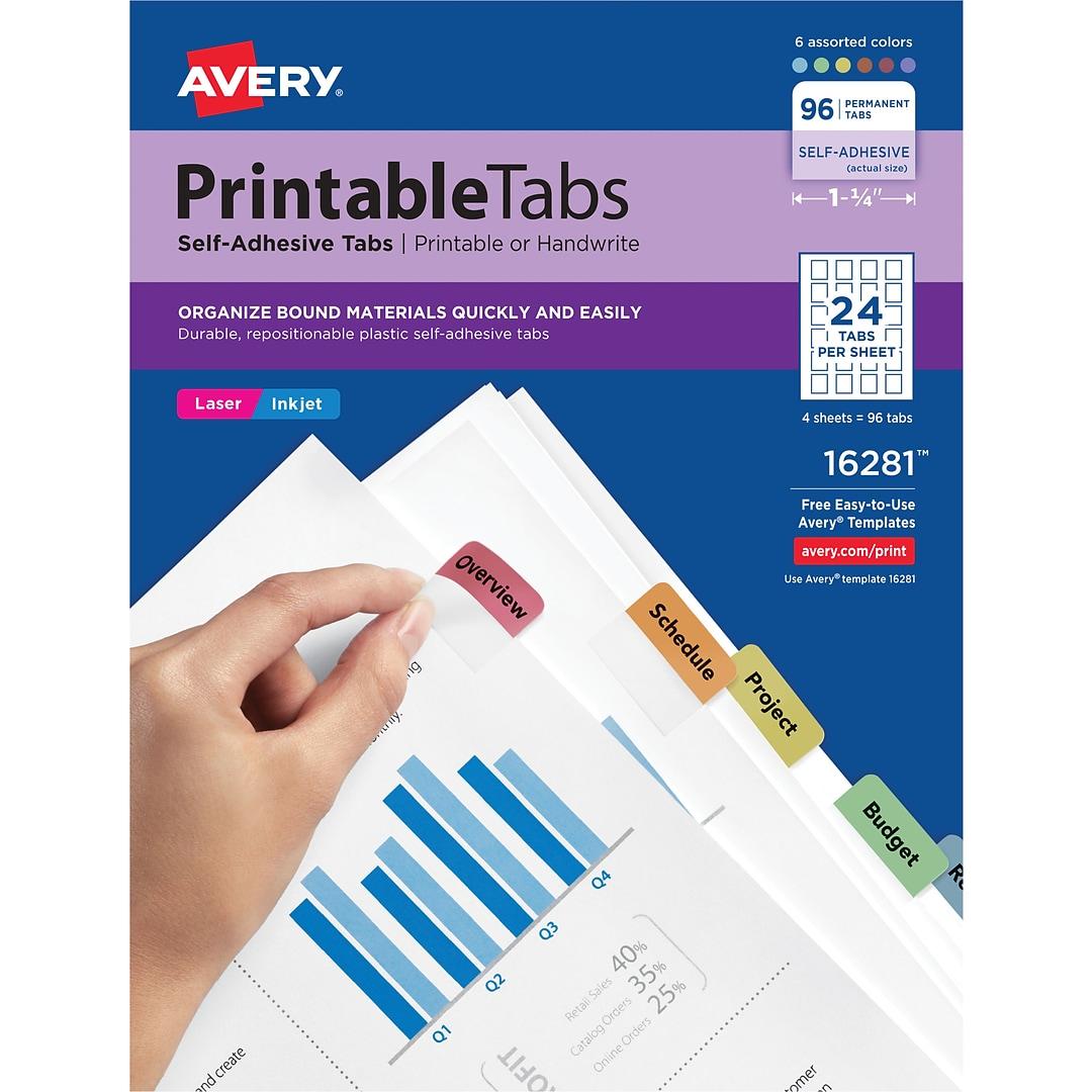 Avery Printable Self Adhesive Tabs 1 14 Fashion Multi Color
