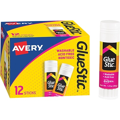 Avery® Clear Application Permanent Glue Stic, 1.27 oz., 72/Carton