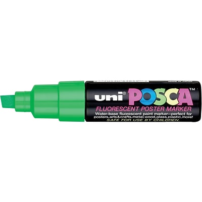 uni Posca Water-Based Paint Markers, Broad Chisel Tip, Fluorescent Green, 1 Count