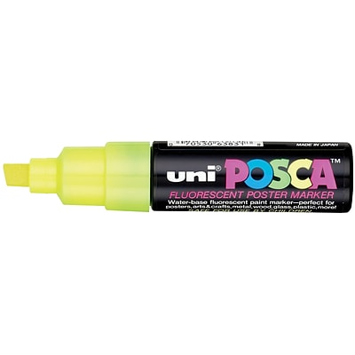 uni Posca Water-Based Paint Markers, Broad Chisel Tip, Fluorescent Yellow, 1 Count