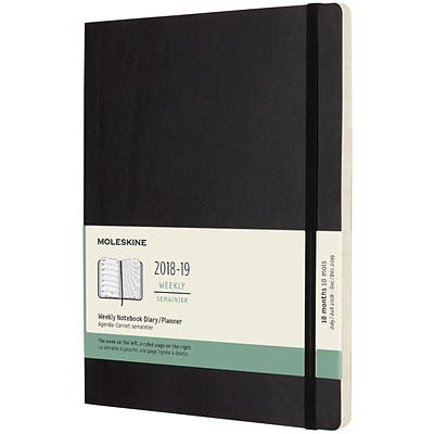 2018-2019 Moleskine Academic Weekly Extra Large Soft Cover Notebook 18 Monthly Planner, Black (MSK716373)