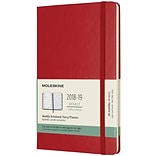 2018-2019 Moleskine Academic Weekly Large Hard Cover Notebook Planner, 18 Months, Scarlet Red (MSK71