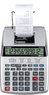 Canon(r) Printing Light Medium Duty Calculators, P23 DHV, Portable, 12 Digit, Gray/Silver