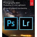 Adobe Creative Cloud Photography Plan for Windows/Mac, 20 GB of Storage (1 User) [12-Month Subscript