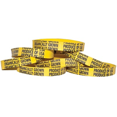 Alliance Rubber PLU Bands, Size #73, 3 x 1/8, Yellow w/ Black Imprinted Organically Grown Produce of USA, 1 lb. Box