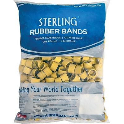 Alliance Rubber Lobster Bands, 1 x 1/2 Yellow, 1 lb. Bag
