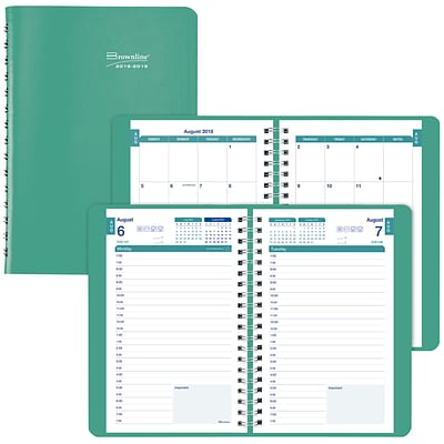 2018-2019 Brownline® Daily Academic Appointment Book with Monthly Planner, Emerald, 12 Months, 8 x 5 (CA201.EME-19)