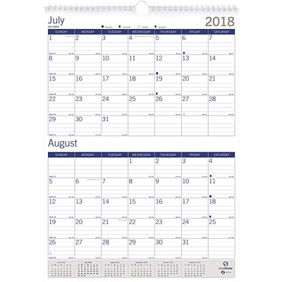 2018 - 2019 Blueline® 12 x 17 DuraGlobe™ Two-Month View Academic Wall Calendar, 13 Months  (CA172203-19)