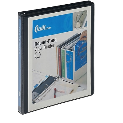 Quill Brand® 1/2 3 Ring Round Ring View Binder, Black (72205bk)