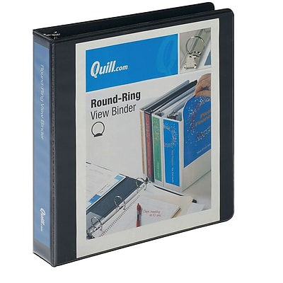 Quill Brand® 1-1/2 inch, Round Ring, View Binder, Black (72215BK)