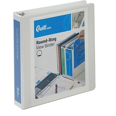 Quill Brand® 1-1/2 inch, Round Ring, View Binder, White (72215WE)
