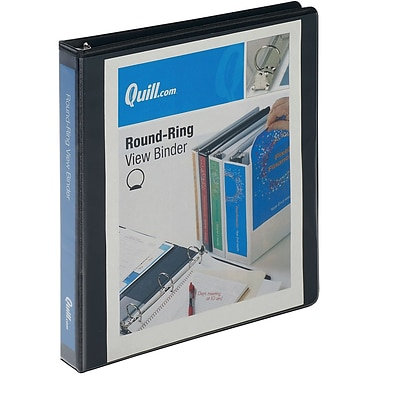Quill Brand® Standard 1 3-Ring View Binder, Black (7221BK)