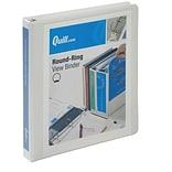 Quill Brand® Standard 1 3-Ring View Binder, 3-Ring, White (7221WE)