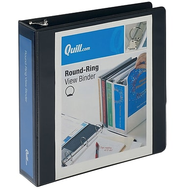 Quill Brand® 2 3 Ring Round Ring View Binder, Black (7222bk)