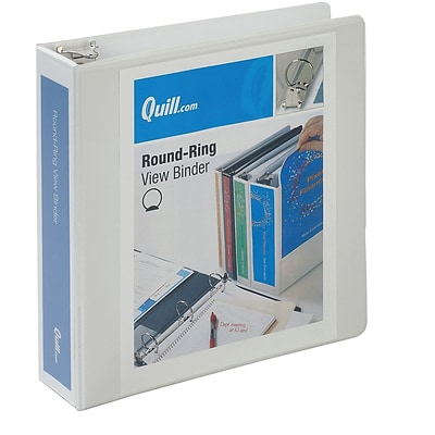 Quill Brand® 2 inch, Round Ring, View Binder, White (7222WE)