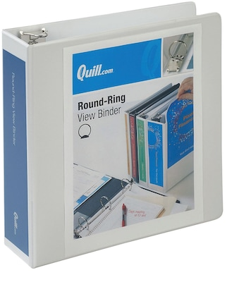 Quill Brand® 3 inch, Round Ring, View Binder, White (7223WE)
