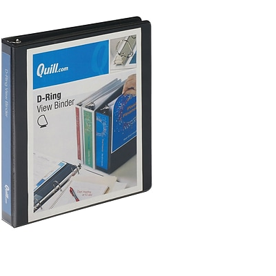 Quill Brand® 1 inch, D-Ring, View Binder, Black (7320101)