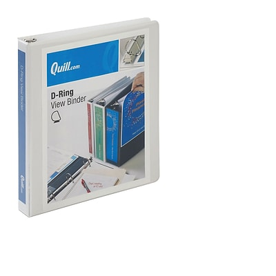 Quill Brand® 1 inch, D-Ring, View Binder, White (7320113)