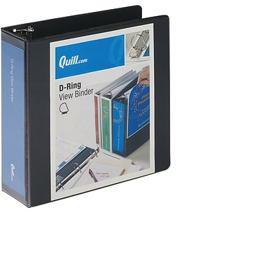 Quill Brand® Standard 3 3-Ring View Binder with D-Rings, Black (7320301)