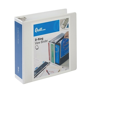 Quill Brand® Standard 3 3-Ring View Binder with D-Rings, White (7320313)