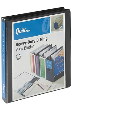 Quill Brand® 1 3 Ring Heavy-Duty D-Ring View Binder with Easy Open, Black (74201bk)