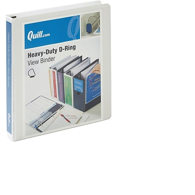 Quill Brand® 1 inch, Heavy-Duty, D-Ring, View Binder w/ Easy Open, White (74201WE)