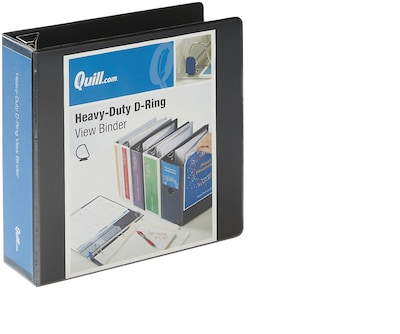 "Quill Brand® 3"" 3 Ring Heavy-Duty D-Ring View Binder with Easy Open, Black (74203bk)"
