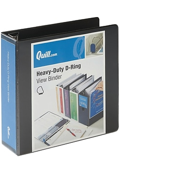 Quill Brand® Heavy-Duty Easy Open 3 3-Ring View Binder with D-Rings, Black (74203BK)