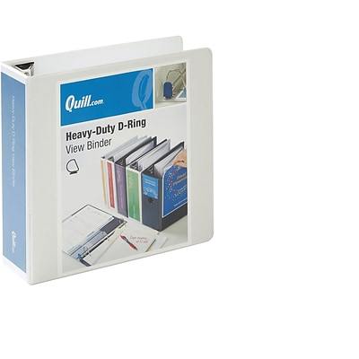 Quill Brand Heavy-Duty Easy Open 3 3-Ring D-Ring View Binder, White (74203WE)