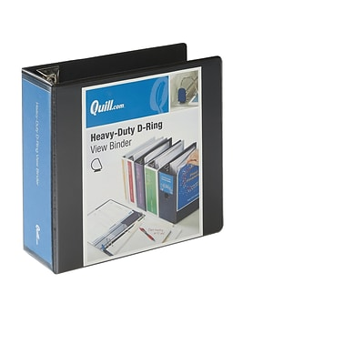Quill Brand® Heavy-Duty Easy Open 4 3-Ring View Binder with D-Rings, Black (74204BK)