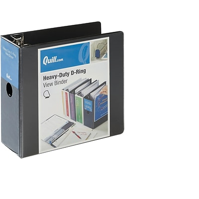 Quill Brand Heavy-Duty Easy Open 5 3-Ring D-Ring View Binder, Black (74205BK)