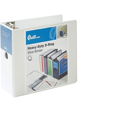 Quill Brand® Heavy-Duty Easy Open 5 3-Ring View Binder with D-Rings, White (74205WE)