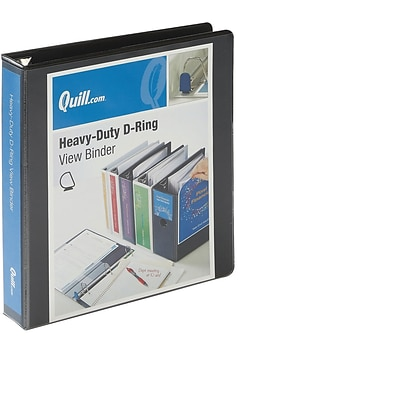 Quill Brand® Heavy-Duty Easy Open 1.5 3-Ring View Binder with D-Rings, Black (74215BK)