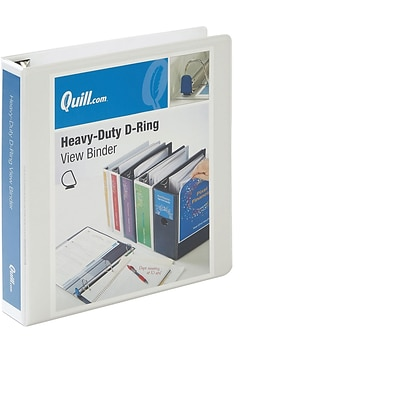 Quill Brand Heavy-Duty Easy Open 1.5 3-Ring D-Ring View Binder, White (74215WE)