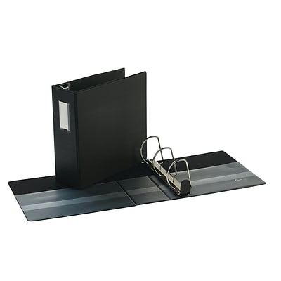 Quill Brand® 4 3 Ring Heavy-Duty D-Ring Reference Binder w/ Easy-Open, Black (780551)
