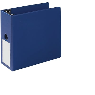 Quill Brand® 5 3 Ring Heavy-Duty D-Ring Reference Binder w/ Label Holder, Blue (780602)