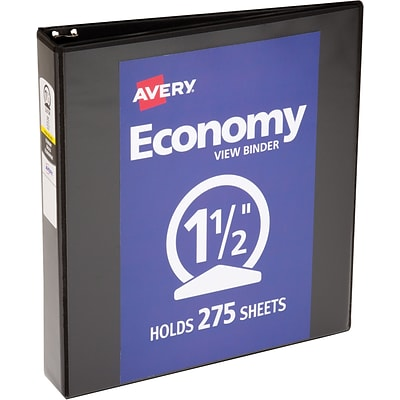 Avery Economy View Binder with 1-1/2 Round Ring, Black (5725)