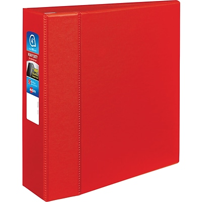 Avery Heavy-Duty Binder, 4 One Touch Rings, 780 Sheet Capacity, DuraHinge, Red (79584)