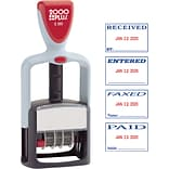 2000Plus® Two-Color Self-Inking 4-in-1 Phrase and Date Stamp, 1-1/4 x 1-13/16 Impression, Blue and