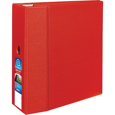 Avery Heavy-Duty Binder, 5 One Touch Rings, 1,050-Sheet Capacity, DuraHinge, Red (79586)