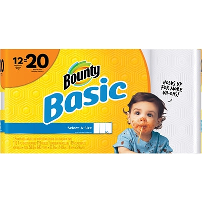Bounty® Basic Select-A-Size™ Paper Towels, White, 1-Ply, 119 Sheets/Roll, 12 Mega Rolls = 20 Regular Rolls (92975)