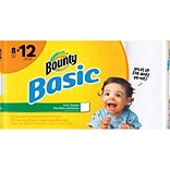Bounty® Basic Full Sheet Paper Towels, 1-Ply, White, 66 Sheets/Roll, 8 Giant Rolls/Carton (92966)