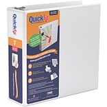 Stride® QuickFit™ View Binder with Round Rings, White, 600-Sheet Capacity, 3 Ring
