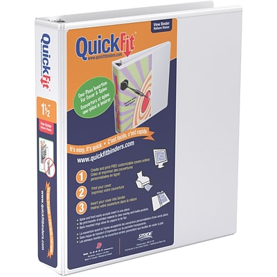 Stride® QuickFit™ View Binder with Round Rings, White, 275-Sheet Capacity, 1-1/2 Ring