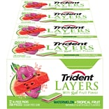 Trident Layers Sugar Free Watermelon & Tropical Fruit Gum, 14 Pieces/Pack, 12/Pack (304-00053)