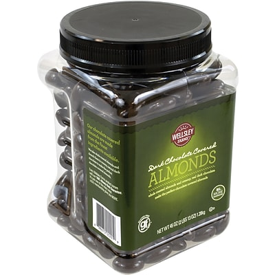 Lyndon Reede Dark Chocolate Covered Almonds, 45 oz. Tub